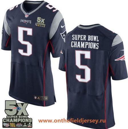 Men's New England Patriots #5 Super Bowl Champions Navy Blue 5X Patch Stitched NFL Nike Elite Jersey