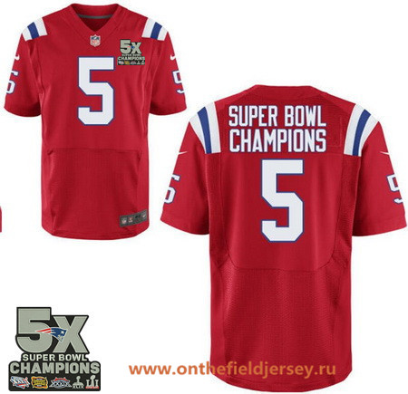 Men's New England Patriots #5 Super Bowl Champions Red 5X Patch Stitched NFL Nike Game Jersey