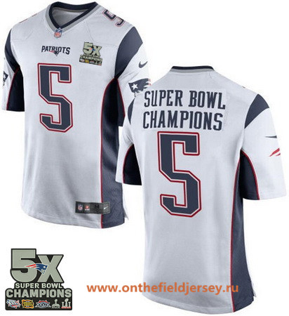 Men's New England Patriots #5 Super Bowl Champions White 5X Patch Stitched NFL Nike Game Jersey