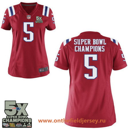 Women's New England Patriots #5 Super Bowl Champions Red 5X Patch Stitched NFL Nike Game Jersey